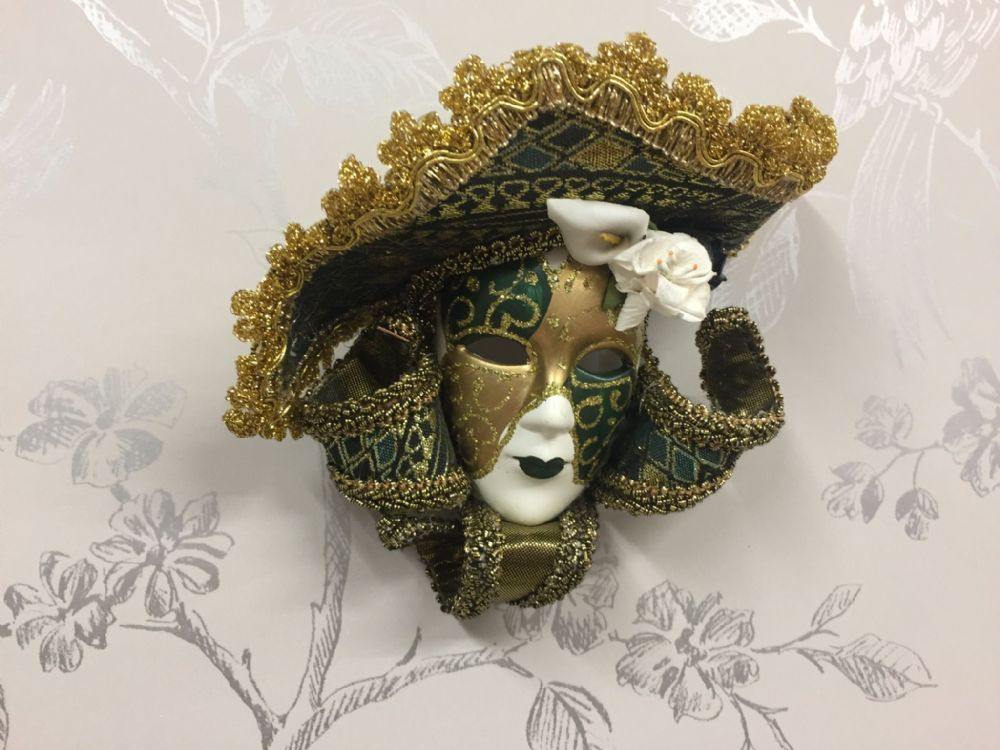 Romano Masquerade Mask Wall / Tree Hanging ~ GREEN ~ Gold